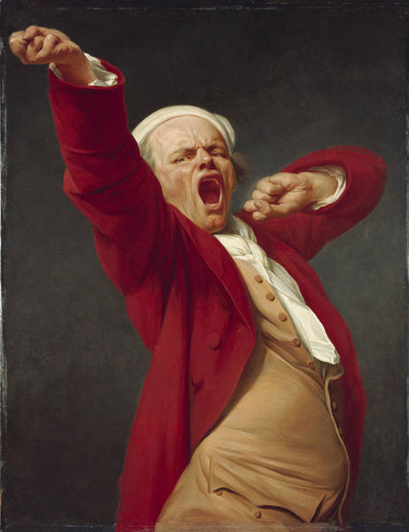 Exertion Wall Art - Painting - Self-portrait, Yawning, 1783  by Joseph Ducreux