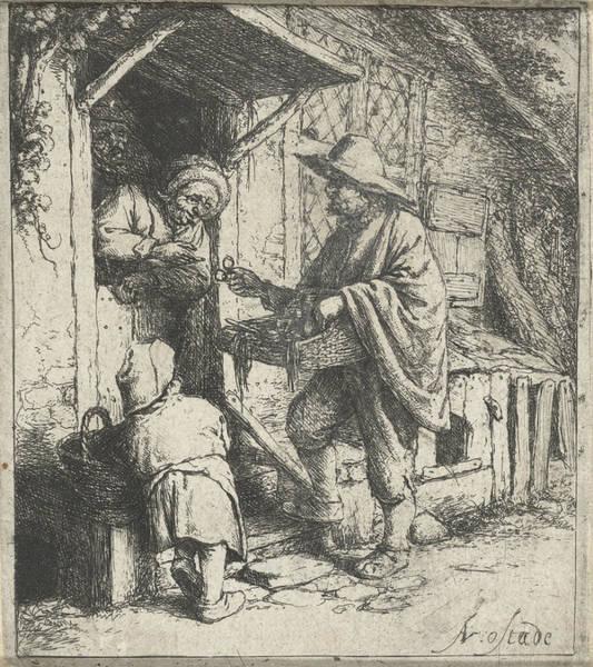 Interpret Drawing - Seller Of Glasses And An Old Woman, Adriaen Van Ostade by Adriaen Van Ostade