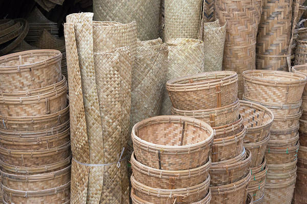 Bamboo Photograph - Selling Bamboo Baskets And Sheets by Keren Su