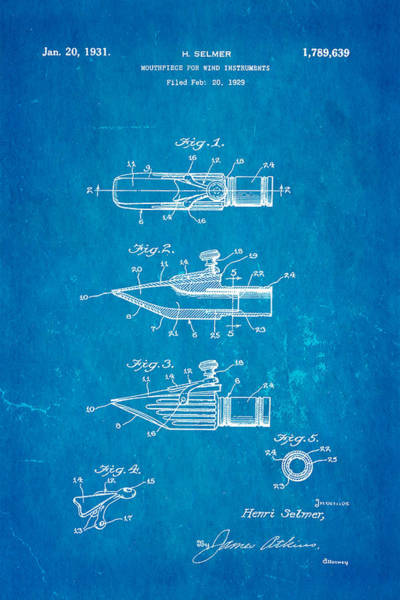 Household Photograph - Selmer Mouthpiece For Wind Instruments Patent Art 1931 Blueprint by Ian Monk