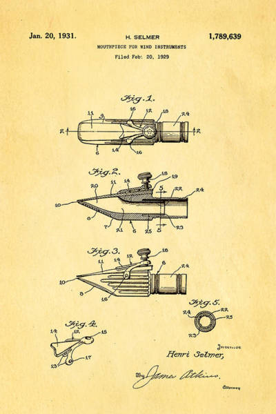 Household Photograph - Selmer Mouthpiece For Wind Instruments Patent Art 1931 by Ian Monk
