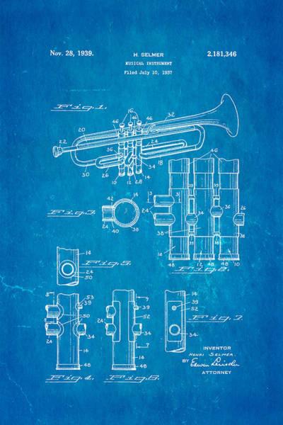 Household Photograph - Selmer Trumpet Patent Art 1939 Blueprint by Ian Monk