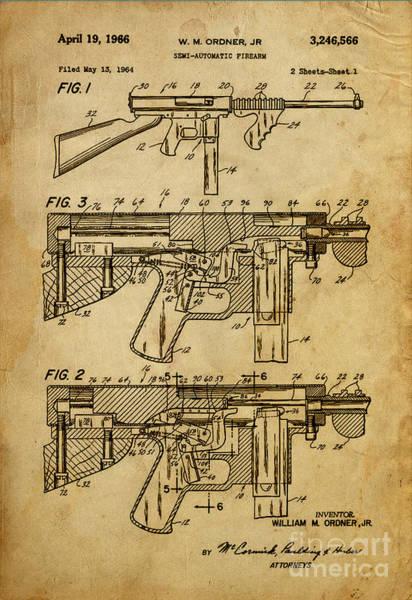 Semis Digital Art - Semi-automatic Firearm - Patented On 1964  by Drawspots Illustrations