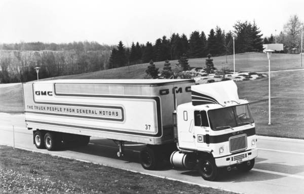 Trailer Photograph - Semi Truck With Dragfoiler by Underwood Archives