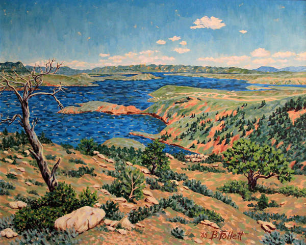 Painting - Seminoe Reservoir Landscape by Bonnie Follett