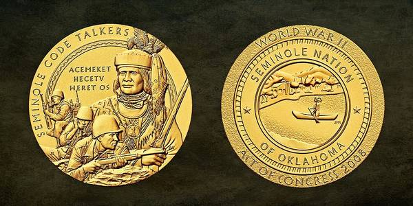 Code Talkers Photograph - Seminole Nation Code Talkers Bronze Medal Art by Movie Poster Prints