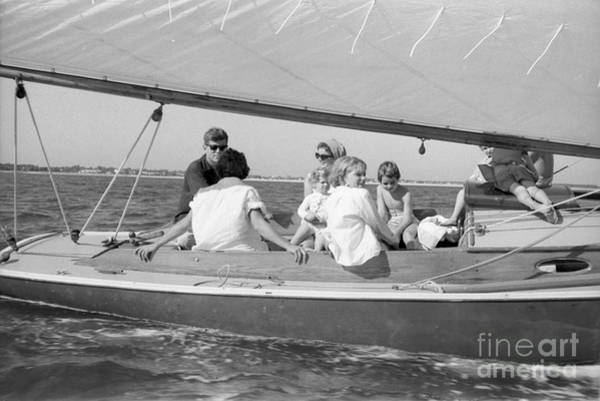 John F Kennedy Photograph - Senator John F. Kennedy With Jacqueline And Children Sailing by The Harrington Collection
