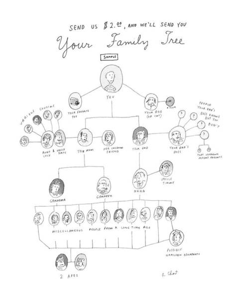 Family Time Wall Art - Drawing - Send Us $2.00 by Roz Chast