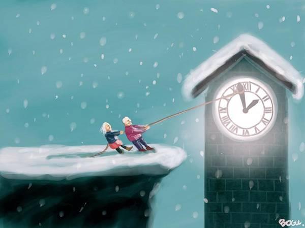 Grandfather Clock Painting - Senescence by Janko Ruberaim