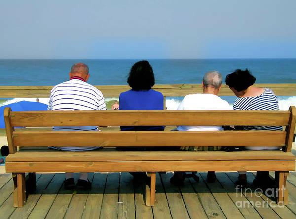 Digital Art - Senior Citizens On Boardwalk Bench At Bethany Beach Delaware by William Kuta