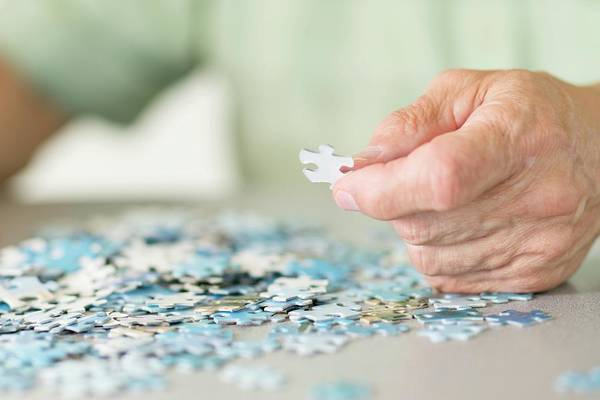 Wall Art - Photograph - Senior Man Doing A Jigsaw Puzzle by Science Photo Library