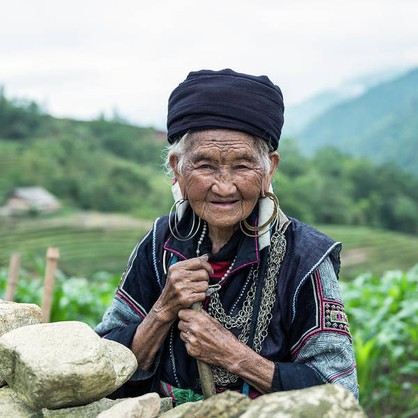 Photograph - Senior Woman Of Black Hmong Hill Tribe by Martin Puddy