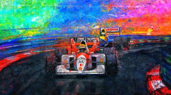 Ayrton Senna Wall Art - Mixed Media - Senna For The Win by Alan Greene