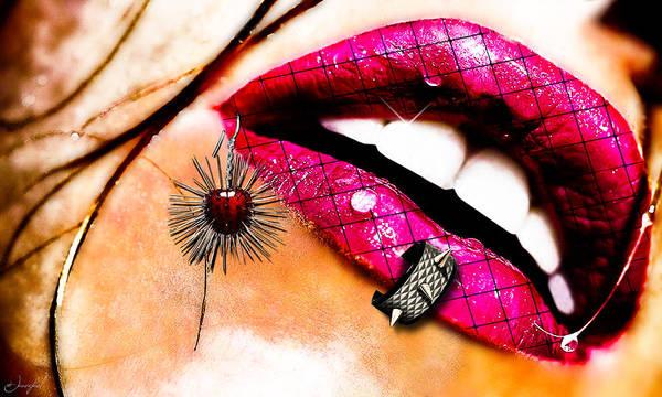 Lip Piercing Wall Art - Digital Art - Sensy Classy by Jan Raphael