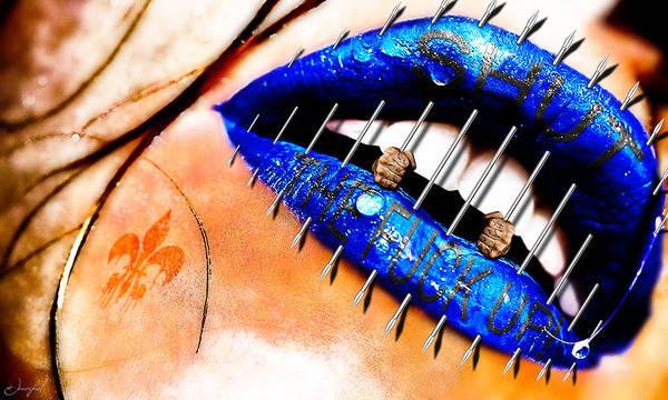 Lip Piercing Wall Art - Digital Art - Sensy Jail by Jan Raphael