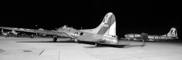 B-17 Bomber Photograph - Sentimental Journey Fifi And Maid In The Shade Panorama Grayscale Night March 2 2013 by Brian Lockett