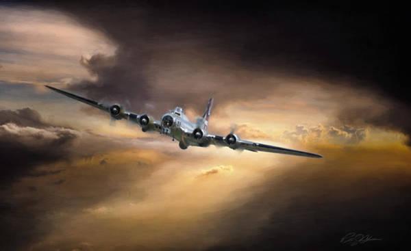 Battle Of Britain Digital Art - Sunset Climb B-17 by Peter Chilelli
