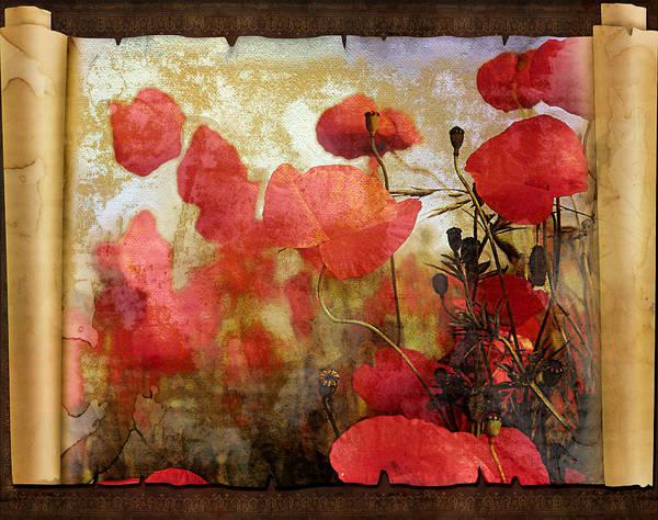 Red Poppy Mixed Media - Sentimental Poppy Scroll by Georgiana Romanovna
