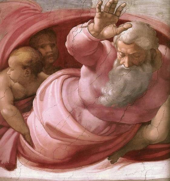 Apostolic Palace Wall Art - Painting - Separation Of Land From Sea by Michelangelo Buonarroti