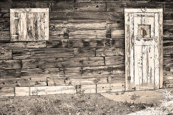 Photograph - Sepia Rustic Old Colorado Barn Door And Window by James BO Insogna