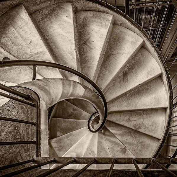 Photograph - Sepia Spiral Staircase by Roberto Pagani