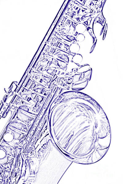 Photograph - Sepia Tone Drawing Of A Tenor Saxophone 3356.03 by M K Miller