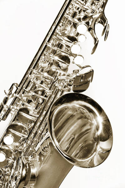 Photograph - Sepia Tone Photograph Of A Tenor Saxophone 3356.01 by M K Miller