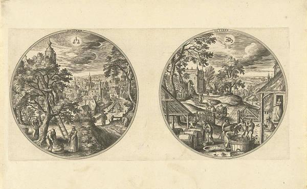 Grape Drawing - September And October, Adriaen Collaert, Hans Bol by Adriaen Collaert And Hans Bol And Hans Van Luyck