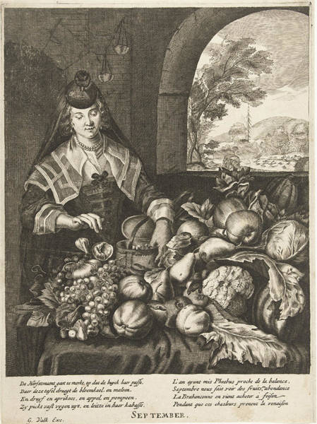 Wall Art - Drawing - September Represented As Woman At Table Laden With Fruits by Cornelis Van Dalen Ii And Anonymous And Joachim Von Sandrart