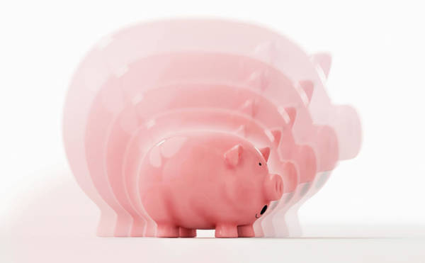 Wall Art - Photograph - Sequence Of Piggy Bank Shrinking by Ikon Images