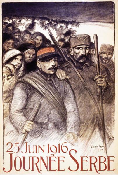 Propaganda Drawing - Serbian Day, 1916 by Theophile Alexandre Steinlen