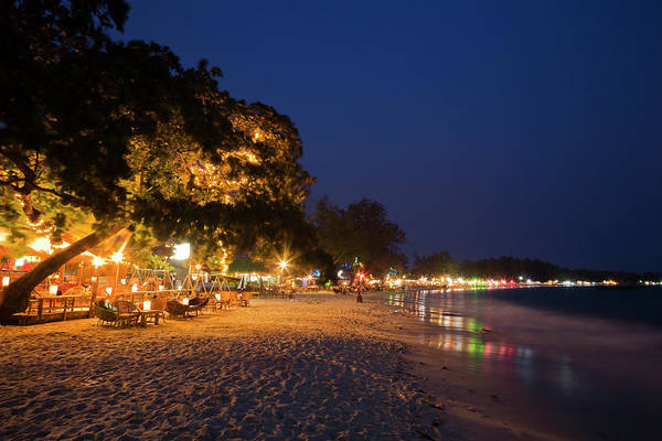 Cambodian Photograph - Serendipity Beach Restaurants Lighting by Anders Blomqvist