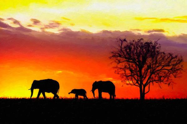 Digital Art - Serengeti Silhouette by Rick Wicker