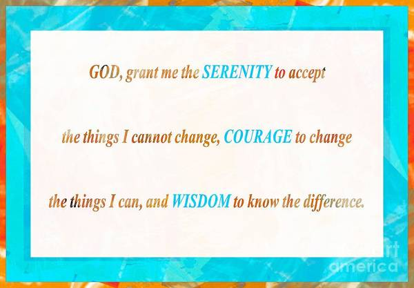 Serenity Prayer Digital Art - Serenity Prayer Turquoise Border by Barbara Griffin