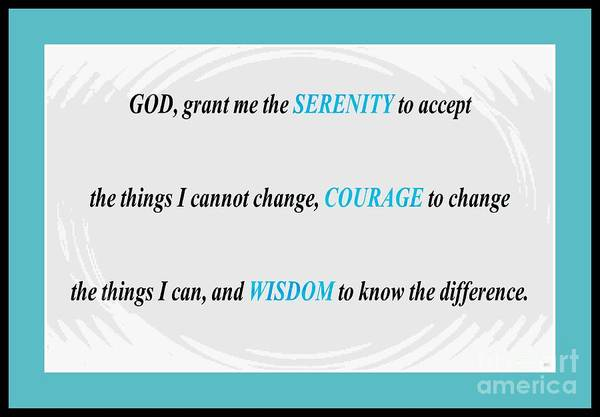 Serenity Prayer Digital Art - Serenity Prayer Blue Border by Barbara Griffin