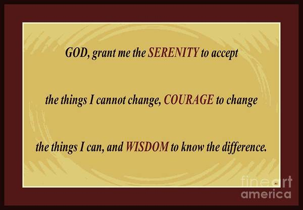Serenity Prayer Digital Art - Serenity Prayer Brown Border by Barbara Griffin