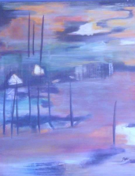 Bullrush Painting - Serenity I by Sheryl Crighton