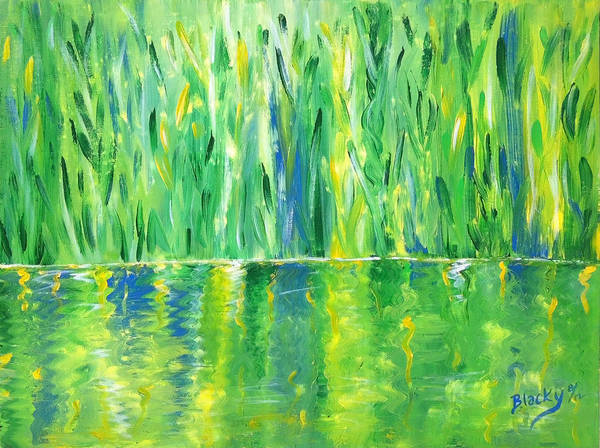 Wall Art - Painting - Serenity In Green by Donna Blackhall