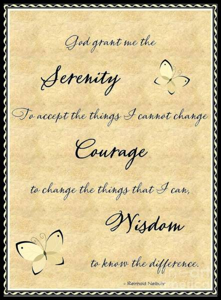 Serenity Prayer Digital Art - Serenity Prayer  by Bobbee Rickard