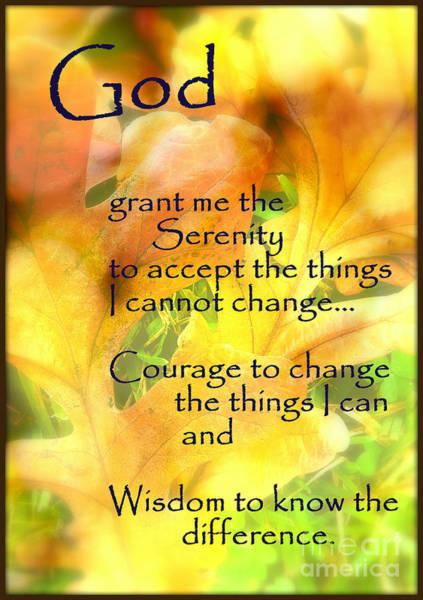 Serenity Prayer Mixed Media - Serenity Prayer In Golden Leaves by Ella Kaye Dickey