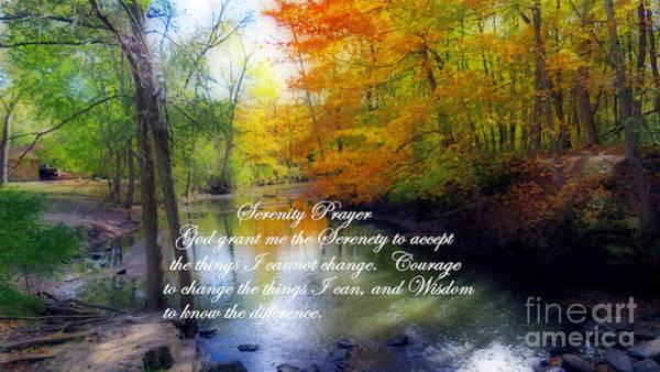 Photograph - Serenity Prayer With Beautiful Autumn Scene by Kay Novy