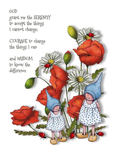 Serenity Prayer Mixed Media - Serenity Prayer With Flowers And Gnomes by Joyce Geleynse