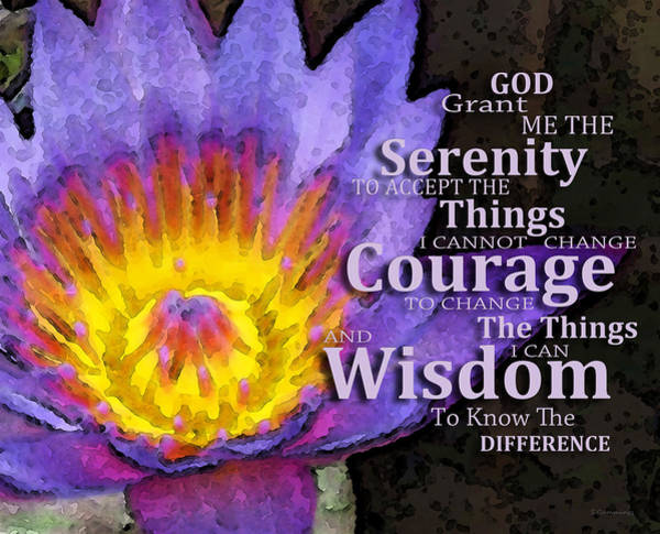 Wall Art - Painting - Serenity Prayer With Lotus Flower By Sharon Cummings by Sharon Cummings