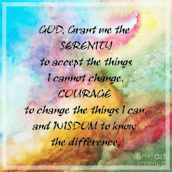 Serenity Prayer Digital Art - Serenity Watercolors by Barbara Griffin