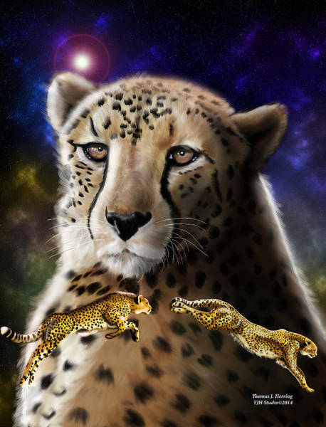 Digital Art - First In The Big Cat Series - Cheetah by Thomas J Herring