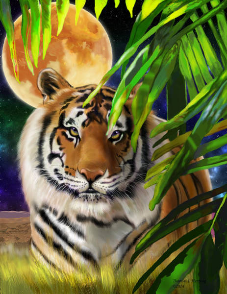 Digital Art - Second In The Big Cat Series - Tiger by Thomas J Herring