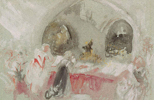 Wall Art - Painting - Service In The Chapel At Petworth by Joseph Mallord William Turner