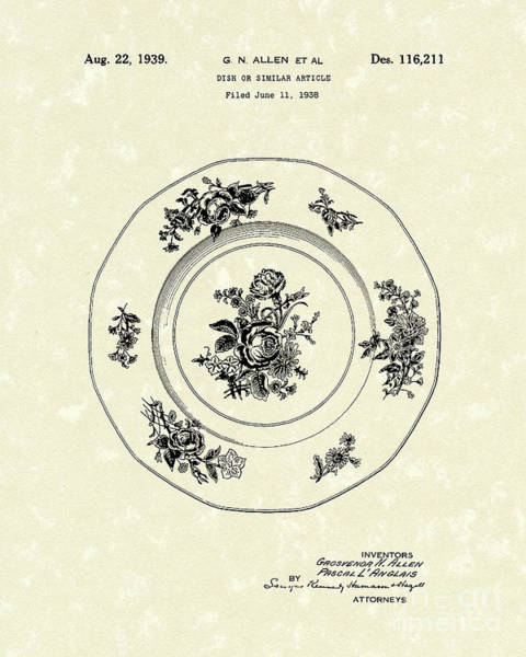 Drawing - Serving Dish 1939 Patent Art by Prior Art Design