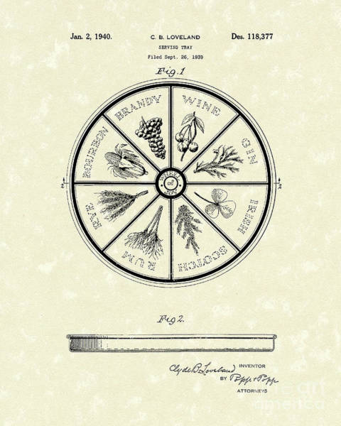 Drawing - Serving Tray 1940 Patent Art by Prior Art Design