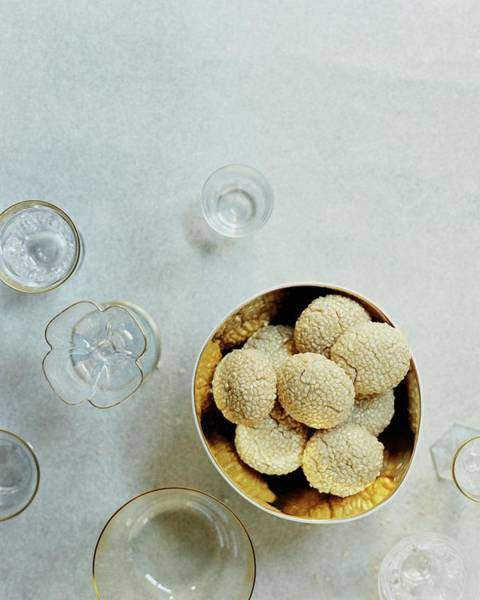 Glass Plate Photograph - Sesame Cookies by Romulo Yanes